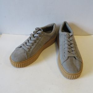 INDIGO RD. SUEDE GRAY LACED UP CREEPER SNEAKERS 9